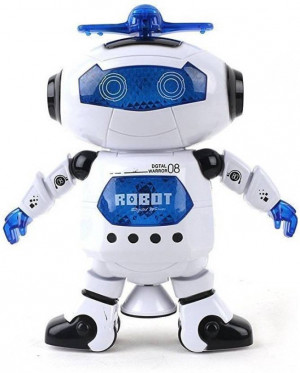 Generic Naughty Dancing Robot with 3D light & music-Batteries Oprated  (White, Blue)