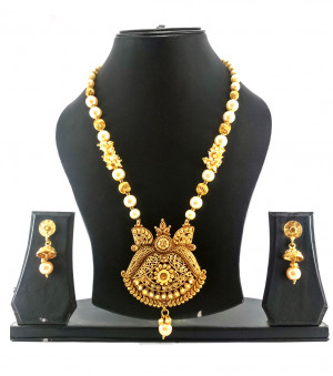 Gold Plated Necklece Set Long With Earrings
