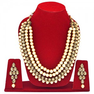 Green Color Necklace Set Earrings Kundan Stone For Woman & Girls