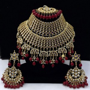 HM Bridal Necklace Set With Earrings & Maang Tikka Kundan Stone Maroon Beads Color Three Line For Woman & Girls