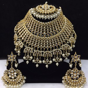 HM Bridal Necklace Set With Earrings & Maang Tikka Kundan Stone White Beads Color Three Line For Woman & Girls