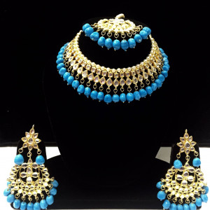 HM Necklace Set Kundan Stone Aqua (Firozi) Color Beads Choker Set For Woman & Girls