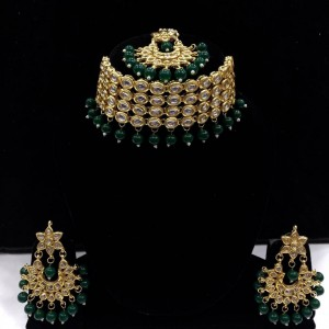 HM Necklace Set Kundan Stone Dark Green Color Beads Choker With Earrings & Maang Tikka Set For Woman & Girls 001