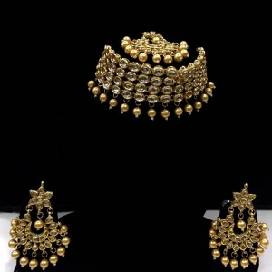HM Necklace Set Kundan Stone Golden Beads Choker With Earrings & Maang Tikka Set For Woman & Girls