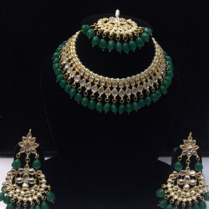 HM Necklace Set Kundan Stone Green Beads Choker Set For Woman & Girls 002