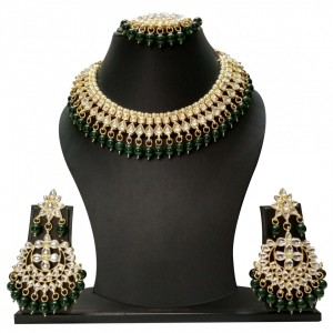 HM Necklace Set Kundan Stone Green Beads Choker Set For Woman & Girls