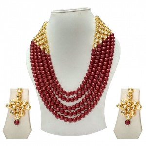 HM Necklace Set Kundan Stone Maroon Beads Mulri Chain For Woman & Girls