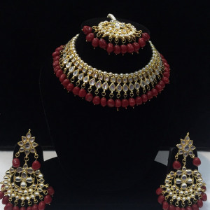 HM Necklace Set Kundan Stone Maroon Color Beads Choker Set For Woman & Girls