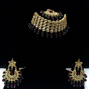 HM Necklace Set Kundan Stone Multi Color Beads Choker With Earrings & Maang Tikka Set For Woman & Girls