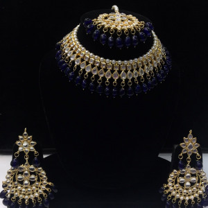 HM Necklace Set Kundan Stone Nevi Blue Color Beads Choker Set For Woman & Girls