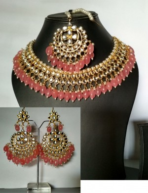 HM Necklace Set Kundan Stone Pink Color Beads Choker Set For Woman & Girls