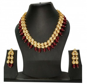 HM Necklace Set With Earrings Kundan Stone Gold Tone Maroon Color Beads For Woman & Girls