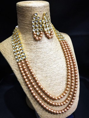 HM Necklace Set With Earrings Kundan Stone Golden Beads Mulri Chain For Woman & Girls