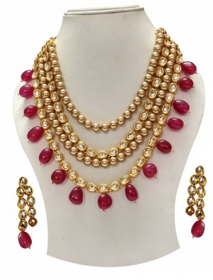 HM Necklace Set With Earrings Kundan Stone Golden Color Beads Mulri Chain For Woman & Girls