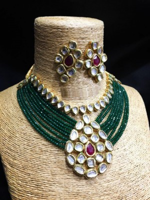 HM Necklace Set With Earrings Kundan Stone Green Color Mulri Chain For Woman & Girls