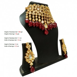 HM Necklace Set With Earrings Kundan Stone Maroon Color Large Stone For Woman & Girls
