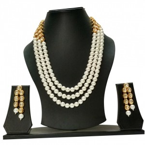HM Necklace Set With Earrings Kundan Stone White Beads Mulri Chain For Woman & Girls
