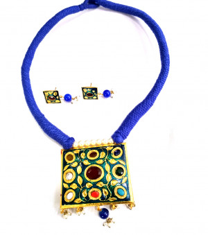 Jaipuri Necklace Set with Earrings Multi Color 01