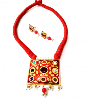 Jaipuri Necklace Set with Earrings Multi Color 02