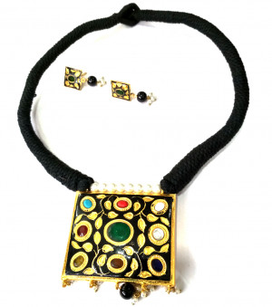 Jaipuri Necklace Set with Earrings Multi Color 03