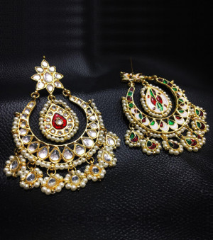 Kundan Earrings Chand Bali For Woman & Girls