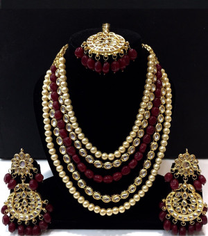 Kundan Long Haar with Maroon Color