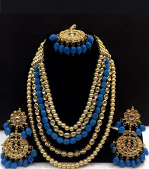 Kundan Long Haar with Sky Blue Color