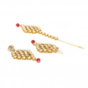 Kundan Round Stone Earrings With Maang Tikka Golden Color For Woman & Girls