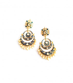 Kundan Stone Earrings Golden Purple Meena Earrings