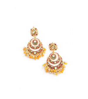 Kundan Stone Earrings Golden Red Meena Earrings