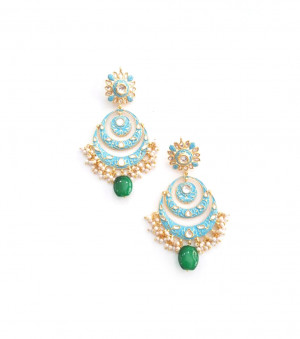 Kundan Stone Earrings Golden Sky Blue Earrings