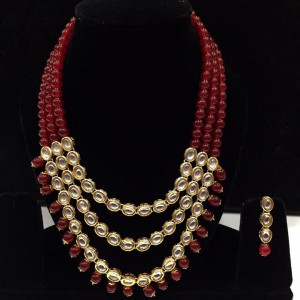 Maroon Color Necklace Set With Earrings Kundan Stone For Woman & Girls