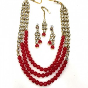 Necklace Set With Earrings & Maang Teeka Kundan Stone Gold Tone Red Color Beads For Woman & Girls 07
