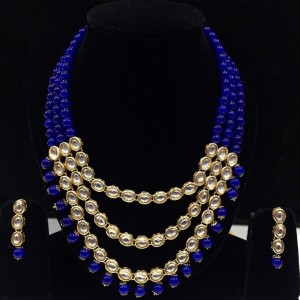 Nevi Blue Color Necklace Set With Earrings Kundan Stone For Woman & Girls