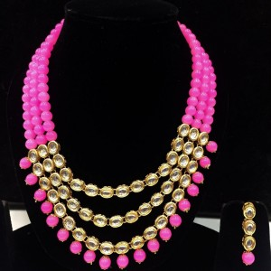 Pink Color Necklace Set With Earrings Kundan Stone For Woman & Girls