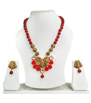 Temple Necklece Set Laxmi Red Color