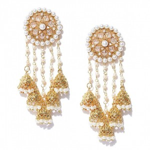 Kundan Devsena Look  White Color Jhumki