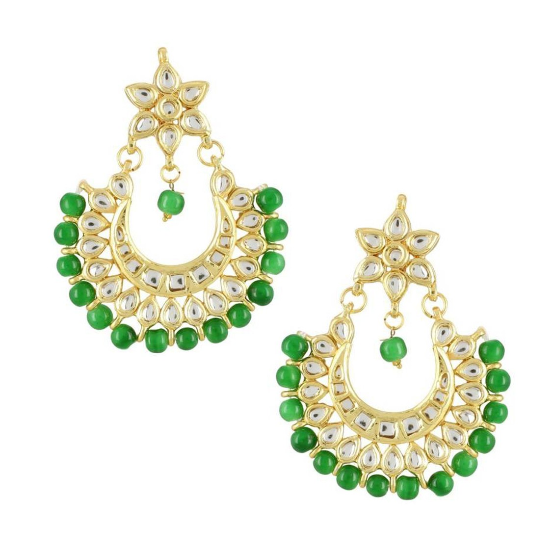 Kundan Earrings Chand Baali Green Color For Woman & Girls