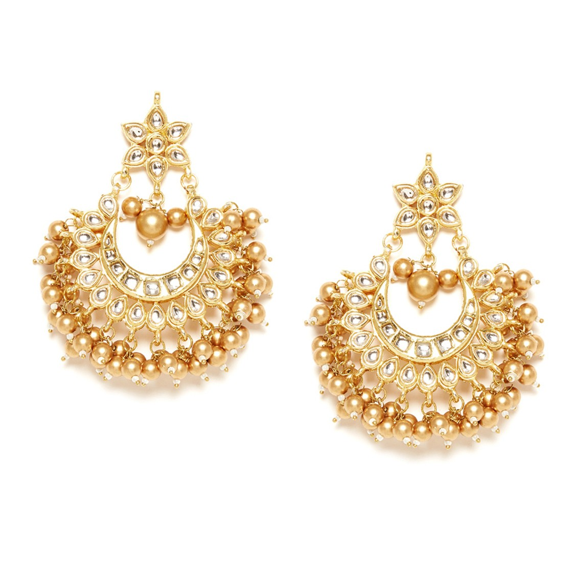 Kundan Earrings Flower Design Golden Color For Woman & Girls