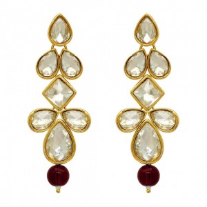 Kundan Earrings Royal Look Maroon Color Beads