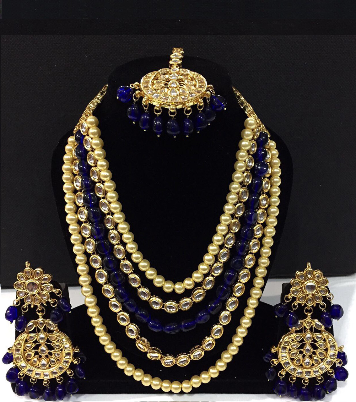 Kundan Long Haar with Nevi Blue Color