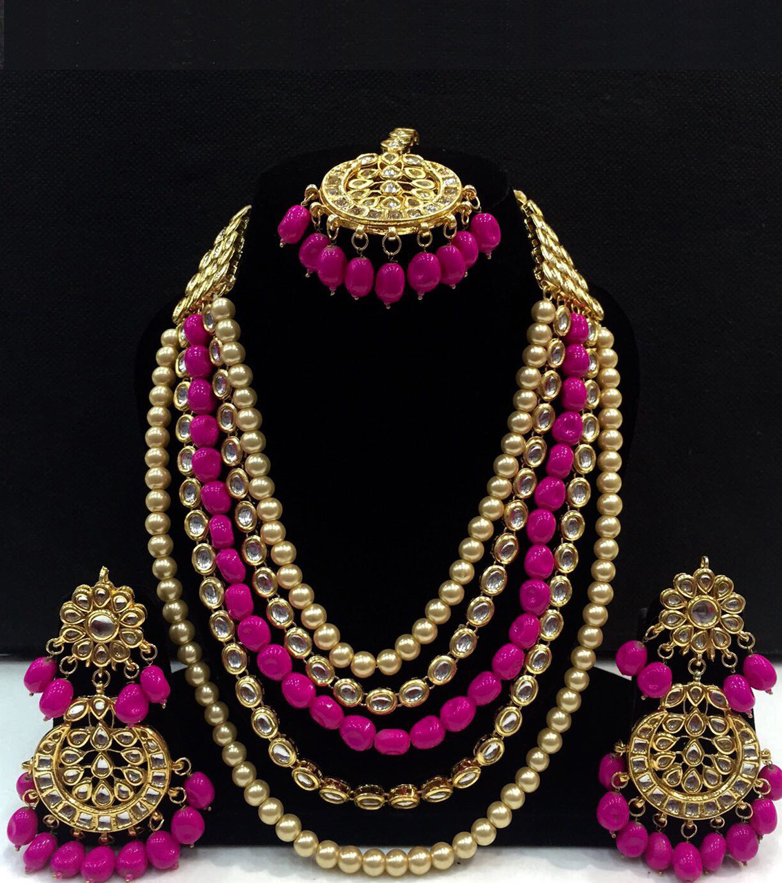 Kundan Long Haar with Rani Color