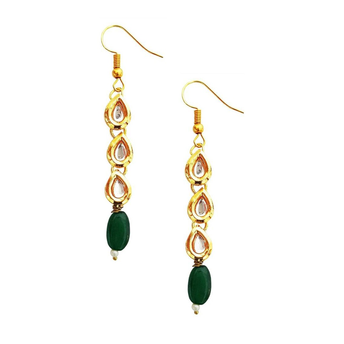 Kundan Round Stone Earrings Green Golden Color For Woman & Girls 01