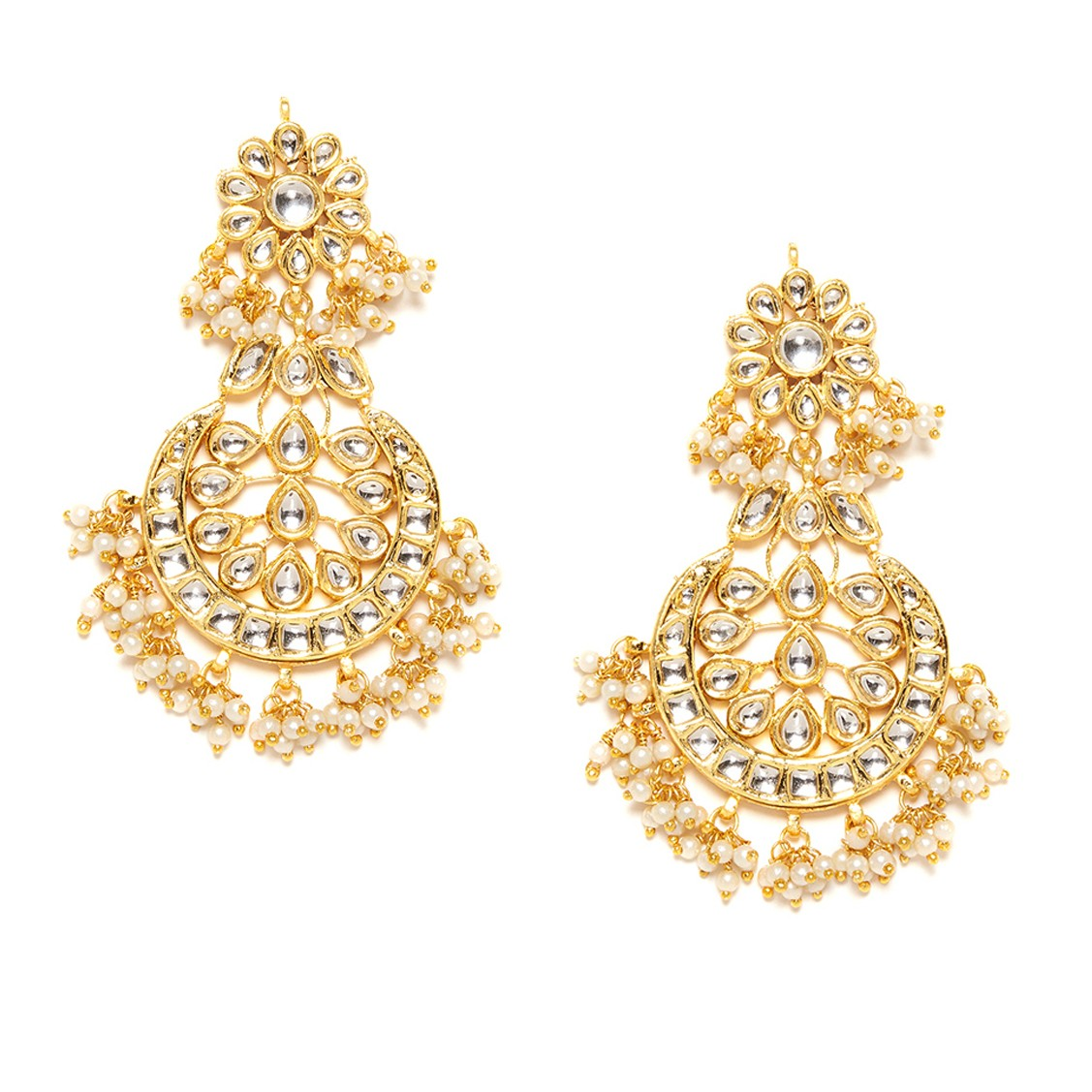 Kundan Stone Earrings Flower Design Golden Color For Woman & Girls