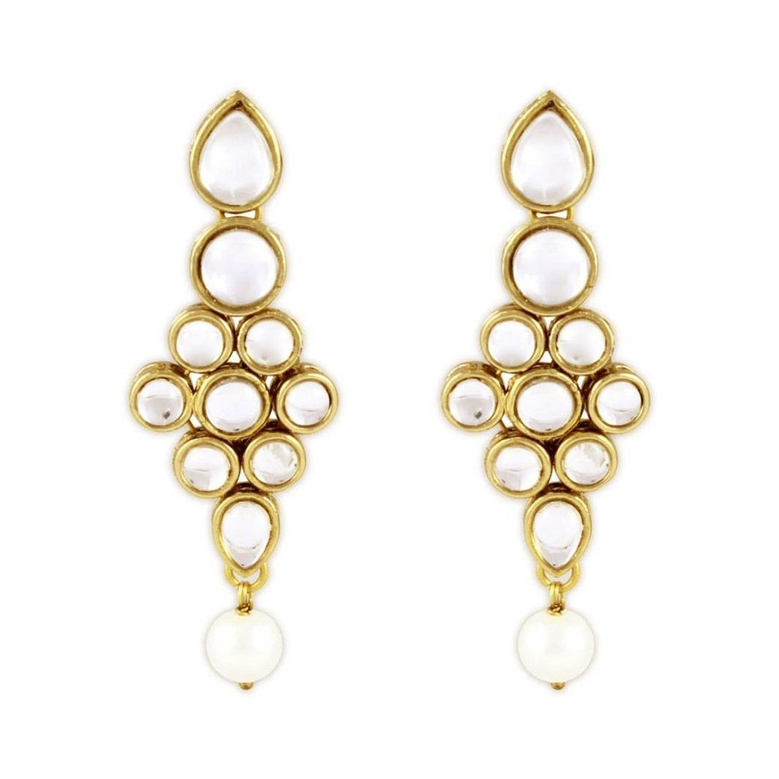 Kundan Stone Earrings Golden Color For Woman & Girls 01