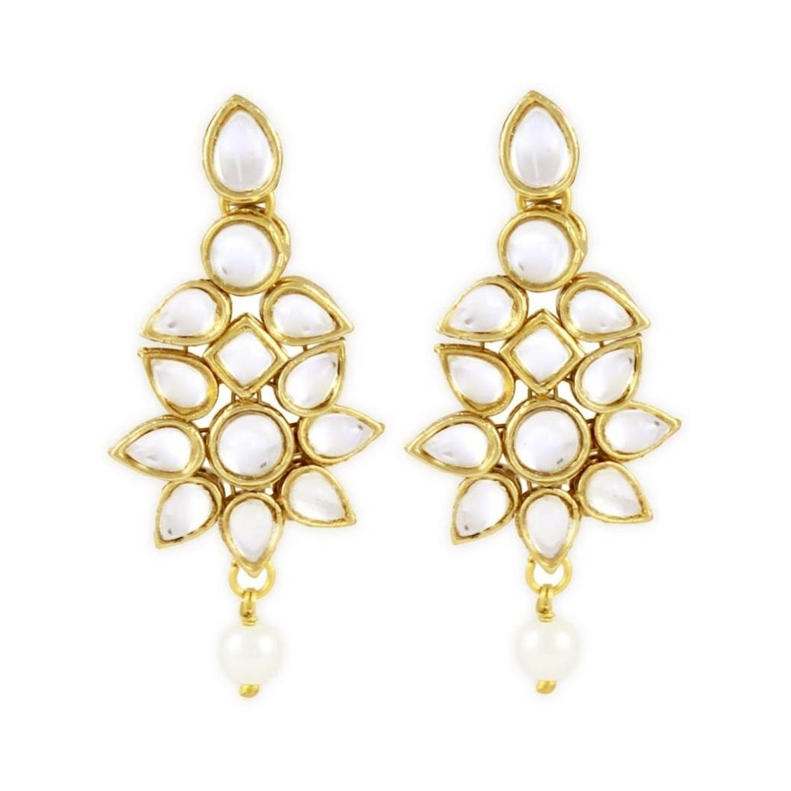 Kundan Stone Earrings Golden Color For Woman & Girls 08