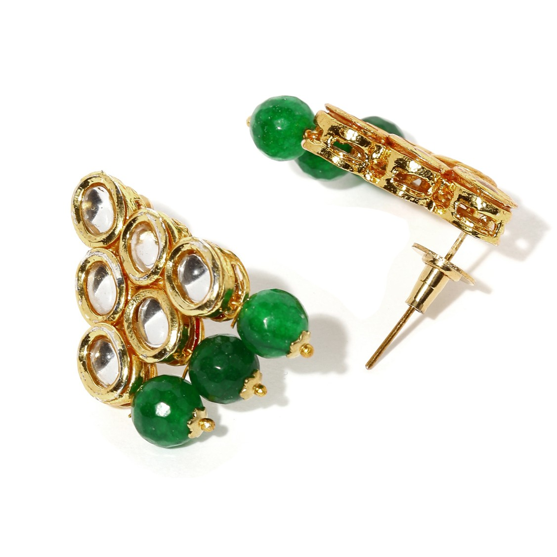 Kundan Stone Earrings Green Color For Woman & Girls
