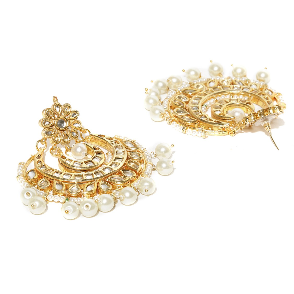 Kundan Stone Earrings Moon Design Golden Color For Woman & Girls