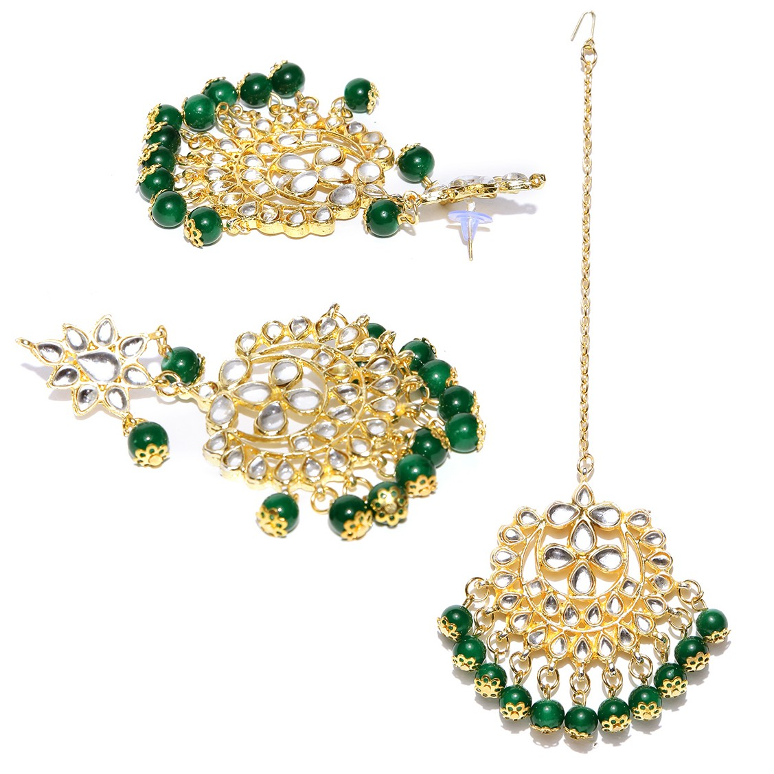 Kundan Stone Earrings With Maang Tikka Green Color For Woman & Girls