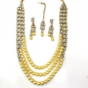 Necklace Set With Earrings & Maang Teeka Kundan Stone Gold Tone Golden Color Beads For Woman & Girls 07